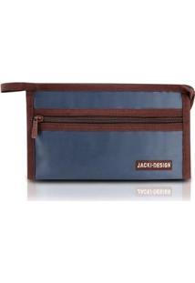 Necessaire Envelope Jacki Design Em Tecido Grande - Unissex-Azul Escuro