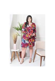 Vestido Feminino Mac-Lu Curto Estampado Manga Longa Flare Linha Premium Vinho Paris Floral