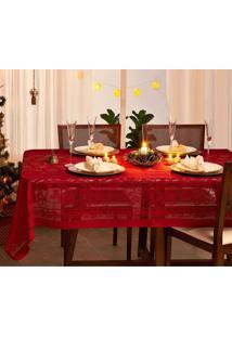 Toalha De Mesa Em Renda Lepper Natal Retangular 6 Lugares Vermelho