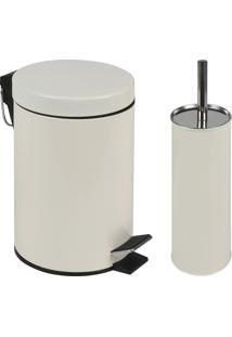 Kit Lixeira 3L Com Pedal E Escova Para Vaso Sanitário Mor