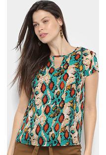 Blusa Dom Fashion Básica Animal Print Feminina - Feminino-Verde