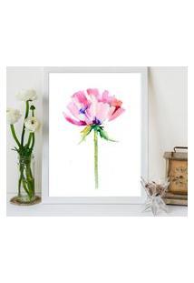 Quadro Decorativo Com Moldura Pink Flower Branco - 20X25Cm