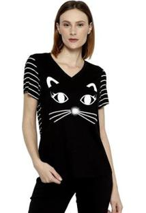Camiseta Energia Fashion Manga Plus Size Curta Feminina - Feminino-Preto