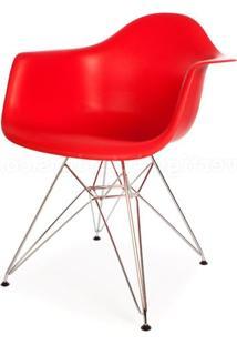 Cadeira Eames Com Braco Base Cromada Vermelho Fosco - 18186 - Sun House