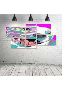 Quadro Decorativo - Dog-Pink - Composto De 5 Quadros