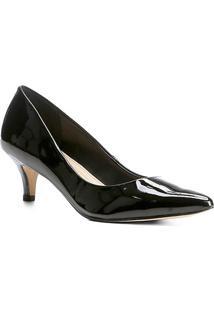 Scarpin Shoestock Salto Baixo Verniz - Feminino-Preto