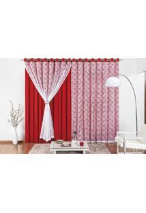 Cortina Rose Jordão Yasmin Para Varão Simples 2M Vermelho