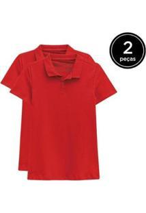 Kit 2 Camisas Polo Basicamente Feminino - Feminino-Vermelho