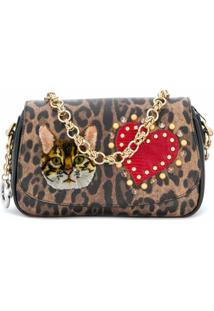 Dolce & Gabbana Clutch Animal Print Com Patches - Marrom
