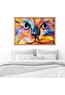 Quadro Love Decor Com Moldura Color Cat Rose Metalizado - Grande