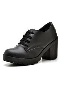 Sapato Oxford Retro Preto Fosco