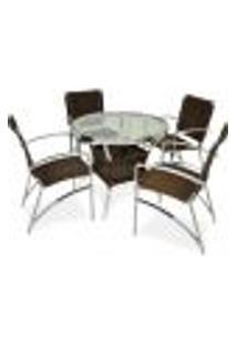 Conjunto De 4 Cadeiras + 1 Mesa De Alumínio Com Vidro - Sarah Móveis