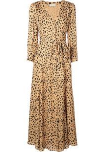Nicholas Vestido Casual Com Animal Print - Marrom
