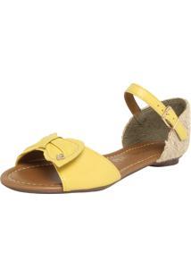 Rasteira Cravo & Canela Solar Amarelo/Bege