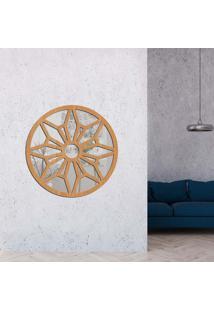 Escultura De Parede Wevans Mandala Geometric, Madeira + Espelho Decorativo