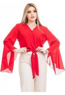 Blusa Clara Arruda Flair Feminina - Feminino-Vermelho