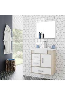 Gabinete Para Banheiro Alhena 63,5X40X57,5Cm Com Lavatório E Espelheira Branco Cerocha