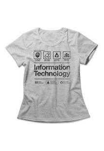 Camiseta Feminina Information Technology Cinza