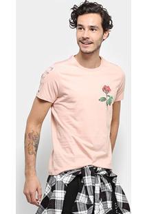Camiseta Acostamento Flor Detalhe Manga Masculina - Masculino-Rosa