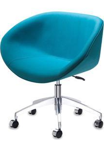 Poltrona Smile Assento Estofado Em Linho Alecrim Base Rodizio Em Aluminio - 55847 - Sun House
