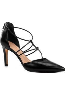 Scarpin Couro Shoestock Salto Alto Barely - Feminino-Preto