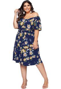 Vestido Almaria Plus Size Pianeta Estampada Azul Noite