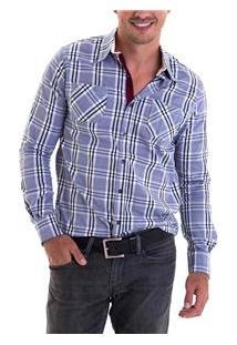 Camisa Masculina 4140302050006 Opera Rock - Xadrez Azul