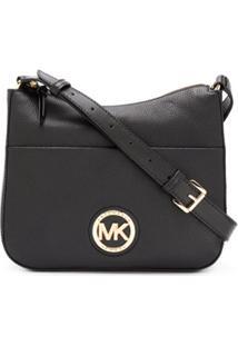 Michael Michael Kors Logo Plaque Leather Shoulder Bag - Preto