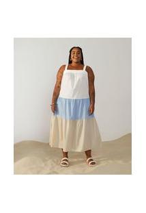 Vestido Midi Em Tricoline Com Marias Curve & Plus Size Azul