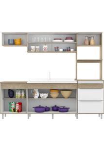 Cozinha Compacta Bari 7 Portas 3 Gavetas Sem Pia Acácia/Branco - Decibal