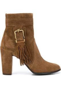 Tod'S Ankle Boot Com Franjas - Marrom