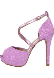 Sandália Salto Alto Meia Pata Week Shoes Tornozeleira X Glitter Lilás