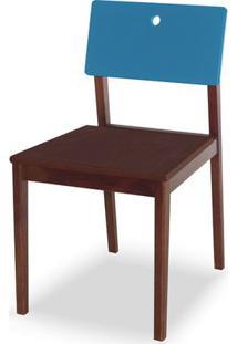 Cadeira Flip Cor Cacau Com Encosto Azul - 31126 - Sun House