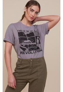 T-Shirt Amaro Ampla Female Revolution Cinza - Cinza - Feminino - Dafiti