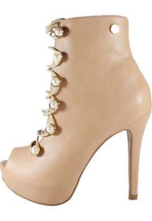 Open Boot Week Shoes Nude Com Cadarço