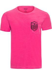 Camiseta Masculina Bolso Brasão - Rosa