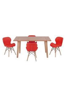 Conjunto Mesa De Jantar Em Madeira 150X80 Vértice + 4 Cadeiras Slim - Vermelho