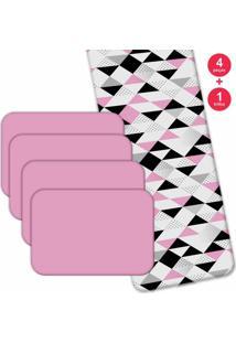 Jogo Americano Triângulos Rosa - Love Decor Com Trilho Kit 4 Peças + 1 Trilho. - Kanui