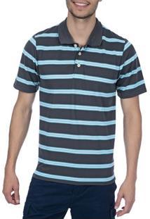 Camisa Polo Masculina Cinza Chumbo Listrada - P