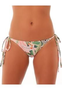 Calcinha Tanga Floral- Rosa Claro & Verde- Use Fleeuse Flee