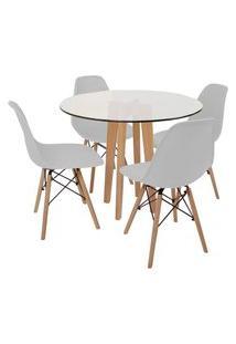 Conjunto Mesa De Jantar Em Vidro 90Cm Com Base Vértice + 4 Cadeiras Eiffel - Cinza