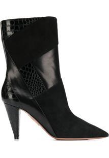 Aquazzura Calder Cone-Heel Ankle Booties - Preto