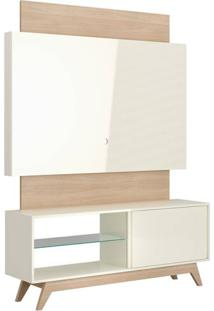 Rack Com Painel Munique 1,40 Mt Cor Off White Com Natural - 51614 Sun House