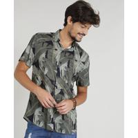 9b04bf179 Camisa Masculina Estampada Tropical Manga Curta Gola Esporte Preta