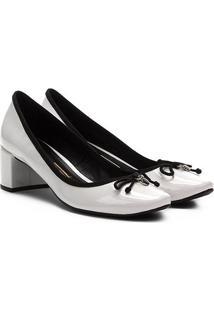 Scarpin Santa Lolla Salto Alto Verniz Laço - Feminino-Preto+Branco