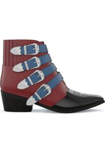 Toga Pulla Ankle Boot De Couro - Red
