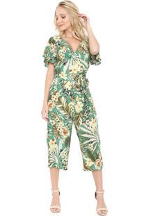 Macacão Lily Fashion Pantacourt Floral Verde/Off-White