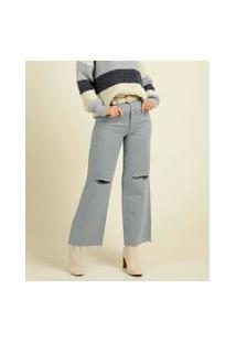 Calça Jeans Wide Leg Destroyed Feminina