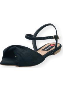 Sandália Rasteira Love Shoes Bico Folha Nó Torcido Preto