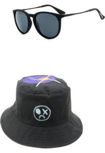 Kit Chapeu Bucket Dark Face Preto Com Desenhos Com Óculos De Sol Preto - Kitdkfbucket - Kanui